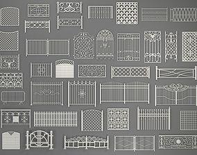 Fences - 40 pieces - collection-2 3D model