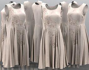 Pearl Decorated Beige Dress 3D asset