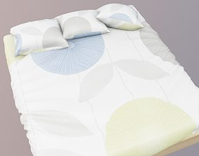 bed with sheet and pillows 3D model