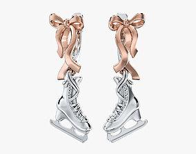 Earrings Ice Skates V1 3D print model