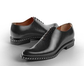 Studded Brushed Leather Oxford Shoes smart 3D