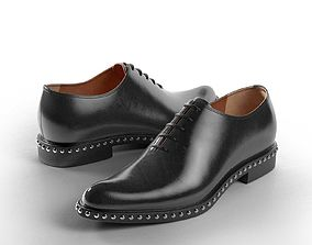 Studded Brushed Leather Oxford Shoes 3D