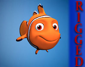 Rigged cartoon fish 3D asset