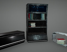 Cyberpunk Book Shelf Shelves Chair Low Poly Game 3D model