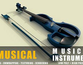 3D asset Electric violin Musical instruments full detail