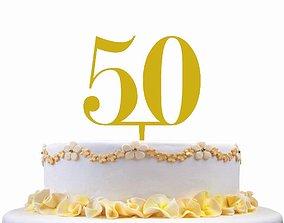 50 ANNIVERSARY CAKE TOPPER 3D print model