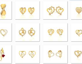 25 Love valentine Earrings 3dm render details