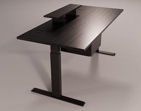 Adjustable Standing Desk - BLACK WOOD PBR 3D