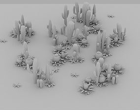3D asset game-ready Cartoon Cactus Forest