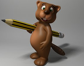 Cartoon beaver rigged 3D asset VR / AR ready