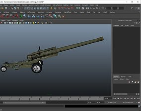 military canon gun 130 mm 3D model