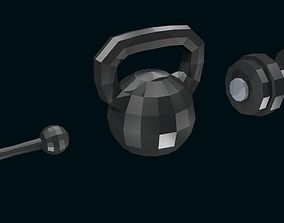 3D model Low poly Dumbbells