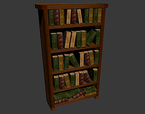 Low Poly Bookcase and Books 3D Model realtime