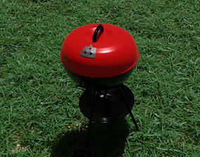 3D model Portable Red Kettle Trolley charcoal barbecue