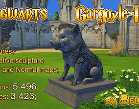 low-poly Hogwarts Stone Hog - gargoyle - 3d Sculpture 3D 1