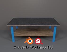 Industrial Workshop Worktable Large PBR 3D model