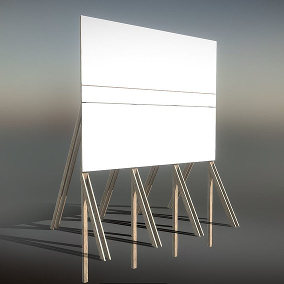 Construction Site Information Board 2 Low-poly