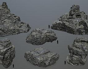 3D asset realtime cliff rocks set