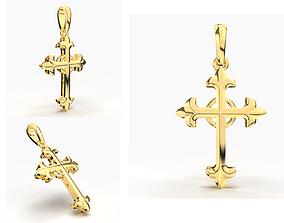 JESUS CROSS GOLD PENDANT shining 3D print model