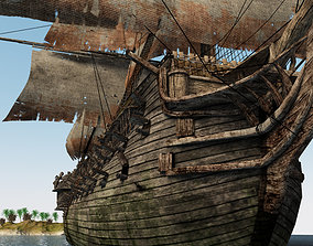 3D asset Three-deck linear galleon period 16-18 century 1