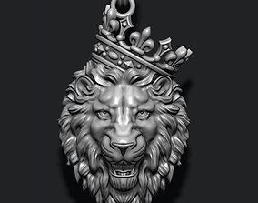 3D print model Lion pendant with crown v3