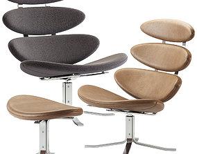 Erik Jorgensen Corona Easy Chair with Footstool 3D