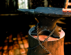 Rusty anvil and hammer - particle 3D model