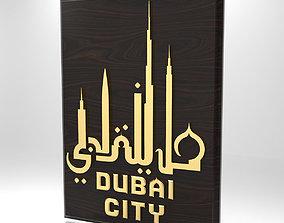 3D model Dubai city emblem
