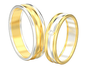 3D printable model Set of two wedding rings with two 2