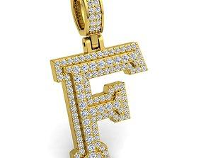 Alphabet Latter F Diamond Pendent 3d Model print