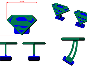 CUFFLINK-3 - Superman Logo - Enamel 3D print model