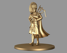 Bagpiper 3D model Thin Man in Gold Color