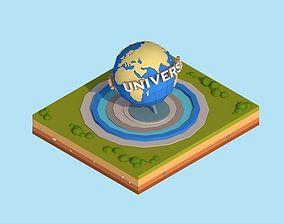 3D model Cartoon Low Poly Universal Studio Globe Landmark