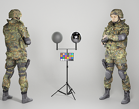 Fully equipped soldier checking time 3D asset