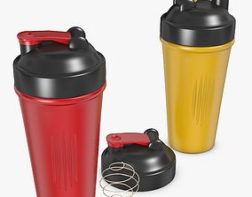 Red and Yellow Shaker Cup 3D model