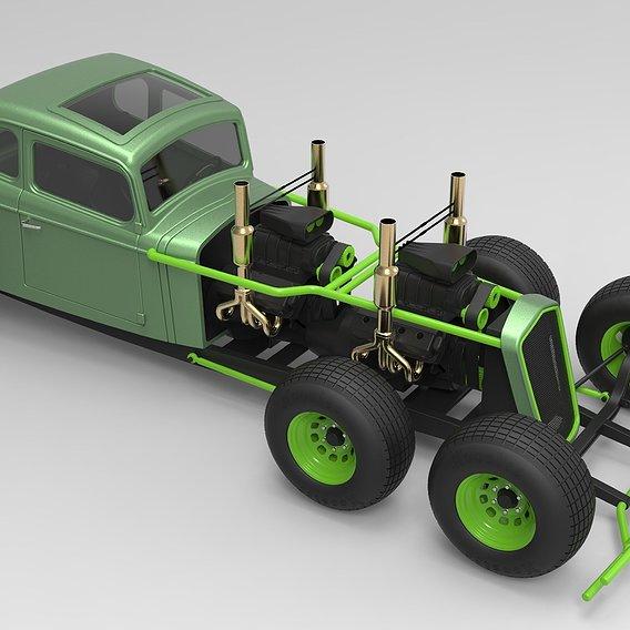 Hot rod six-wheeled