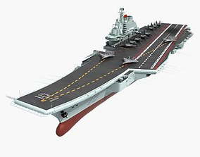 3D Chinese Aircraft Carrier Liaoning And J-15 Flying
