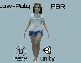 Young angry girl 3D asset rigged