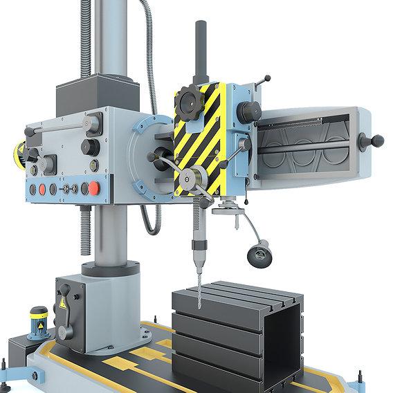 Industrial machine tool radial drilling press 2K52 3D model