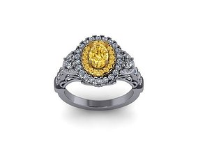 Engagement Ring oval halo 2 TONE 3D print model