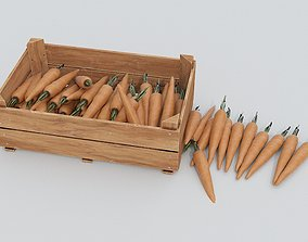 3D asset Wooden crate and carrots
