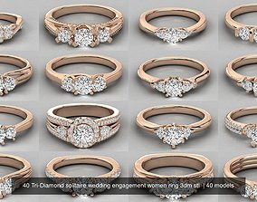 40 Tri-Diamond solitaire wedding engagement women ring 1