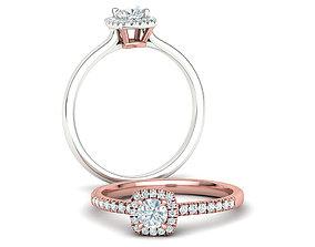 3D printable model Gloria Halo Engagement ring 4mm Stone 2