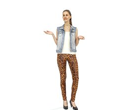 Standing Woman with Leopard Pattern Pants 3D model