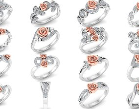 3D The Rose Ring Collection 32 rings