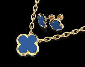 3D printable model Four-leaf clover set of pendant and 2