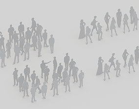 30 3D Mannequins of peoples silhouttes