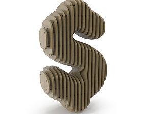 Wood symbol Dollar 3D model