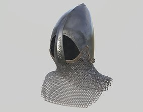 Medieval Bascinet03 with chainmail 3D asset