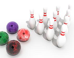 Bowling Balls and Pins 3D asset